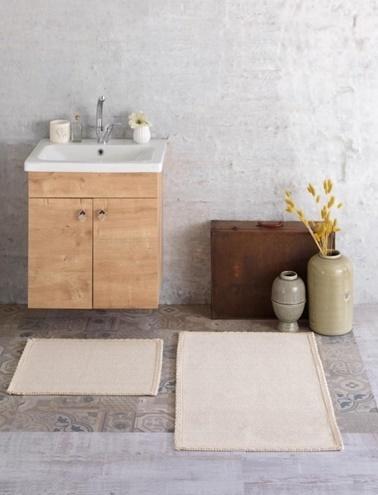 Soley Naturel İkili Banyo Paspası - Romantik Renkli